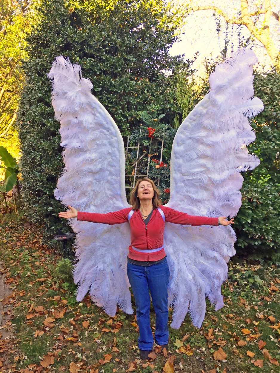 Eleven foot tall archangel wings made from ostrich plumes