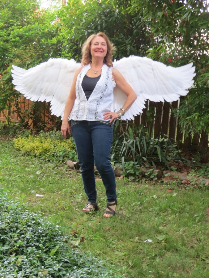 Six foot wide flapping costume angel wings front view