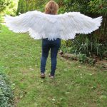 Back view of six foot outstretched wings that flap